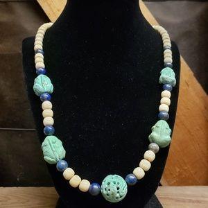 Vintage Egyptian Style Stone Frog necklace